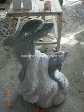 G654 Dark Grey Granite Dolphin Animal Stone Carving/Animal Statue/Animal Sculpture